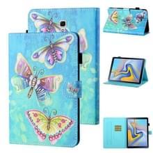 Voor Samsung Galaxy Tab A 10.5 T590/T595 Gekleurde tekening stiksels Horizontale Flip Lederen case met Holder & Card Slot & Sleep / Wake-up Functie(Kleurrijke Vlinders)
