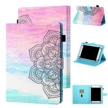 Voor 7 inch Tablet Universal Coloured Drawing Stitching Horizontale Flip Lederen case met Holder & Card Slot (Kleurrijke Mandala)