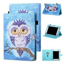 Voor 8 inch Tablet Universal Coloured Drawing Stitching Horizontale Flip Lederen case met Holder & Card Slot (Blue Owl)