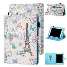 Voor 8 inch Tablet Universal Coloured Drawing Stitching Horizontale Flip Lederen Kast met Holder & Card Slot (Tower en Butterflies)