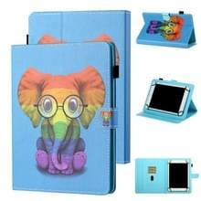 Voor 8 inch Tablet Universal Coloured Drawing Stitching Horizontale Flip Lederen case met Holder & Card Slot (Kleurrijke Olifant)