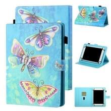 Voor 8 inch Tablet Universal Coloured Drawing Stitching Horizontale Flip Lederen case met Holder & Card Slot (Kleurrijke Vlinders)