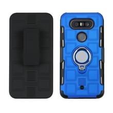 Voor LG Q8 3 In 1 Cube PC + TPU beschermhoes met 360 graden draai zilveren ringhouder(blauw)