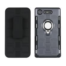 Voor Sony Xperia XZ1 3 In 1 Cube PC + TPU beschermhoes met 360 graden zilveren ringhouder draaien (grijs)