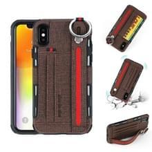 Voor iPhone XS/X doek textuur + TPU schokbestendige beschermhoes met metalen ring & houder & kaartsleuven & opknoping riem (koffie)