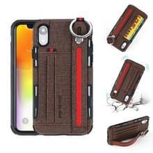 Voor iPhone XR doek textuur + TPU schokbestendige beschermhoes met metalen ring & houder & kaartsleuven & opknoping riem (koffie)