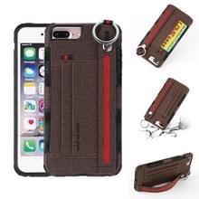 Voor iPhone 8 plus & 7 plus doek textuur + TPU schokbestendige beschermhoes met metalen ring & houder & kaartsleuven & opknoping riem (koffie)