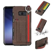 Voor Galaxy S8 doek textuur + TPU schokbestendige beschermhoes met metalen ring & houder & kaartsleuven & opknoping riem (koffie)