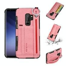Voor Galaxy S9 PLUS doek textuur + TPU schokbestendige beschermhoes met metalen ring & houder & kaartsleuven & hangende riem (roze)