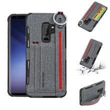 Voor Galaxy S9 PLUS doek textuur + TPU schokbestendige beschermhoes met metalen ring & houder & kaartsleuven & hangende riem (grijs)