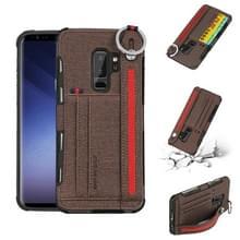 Voor Galaxy S9 PLUS doek textuur + TPU schokbestendige beschermhoes met metalen ring & houder & kaartsleuven & opknoping riem (koffie)