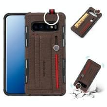 Voor Galaxy S10 doek textuur + TPU schokbestendige beschermhoes met metalen ring & houder & kaartsleuven & opknoping riem (koffie)