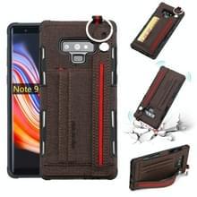 Voor Galaxy Note9 doek textuur + TPU schokbestendige beschermhoes met metalen ring & houder & kaartsleuven & opknoping riem (koffie)