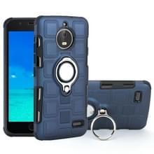 Voor Motorola Moto E4 EU versie 2 in 1 Cube PC + TPU beschermhoes met 360 graden draaien zilveren ring houder (marineblauw)