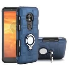Voor Motorola Moto E5 Play Go 2 in 1 Cube PC + TPU beschermhoes met 360 graden draaien zilveren ring houder (marineblauw)