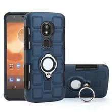 Voor Motorola Moto E5 spelen 2 in 1 Cube PC + TPU beschermhoes met 360 graden draaien zilveren ring houder (marineblauw)