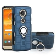 Voor Motorola Moto E5 plus US versie 2 in 1 Cube PC + TPU beschermhoes met 360 graden draaien zilveren ring houder (marineblauw)