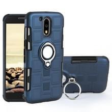 Voor Motorola Moto G4 plus 2 in 1 Cube PC + TPU beschermhoes met 360 graden draaien zilveren ring houder (marineblauw)