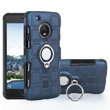Voor Motorola Moto G5 plus 2 in 1 Cube PC + TPU beschermhoes met 360 graden draaien zilveren ring houder (marineblauw)
