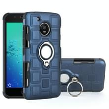 Voor Motorola Moto G5 2 in 1 Cube PC + TPU beschermhoes met 360 graden draaien zilveren ring houder (marineblauw)