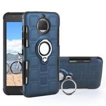 Voor Motorola Moto G5S 2 in 1 Cube PC + TPU beschermhoes met 360 graden draaien zilveren ring houder (marineblauw)