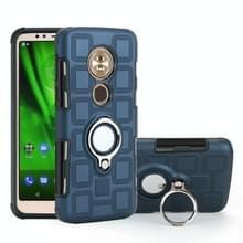 Voor Motorola Moto G6 Play/Moto E5 2 in 1 Cube PC + TPU beschermhoes met 360 graden draaien zilveren ring houder (marineblauw)