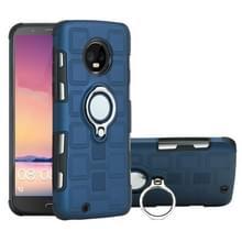 Voor Motorola Moto G6 EU/US versie 2 in 1 Cube PC + TPU beschermhoes met 360 graden draaien zilveren ring houder (marineblauw)