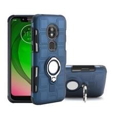 Voor Motorola Moto G7 Play 2 in 1 Cube PC + TPU beschermhoes met 360 graden draaien zilveren ring houder (marineblauw)
