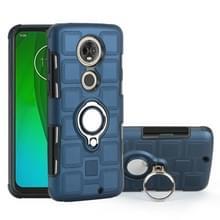 Voor Motorola Moto G7 2 in 1 Cube PC + TPU beschermhoes met 360 graden draaien zilveren ring houder (marineblauw)