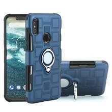 Voor Motorola One Power (P30 Note) 2 in 1 Cube PC + TPU beschermhoes met 360 graden draaien zilveren ring houder (marineblauw)