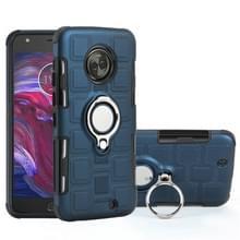 Voor Motorola Moto X4 2017 2 in 1 Cube PC + TPU beschermhoes met 360 graden draaien zilveren ring houder (marineblauw)