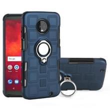 Voor Motorola Moto Z3 Play 2 in 1 Cube PC + TPU beschermhoes met 360 graden draaien zilveren ring houder (marineblauw)