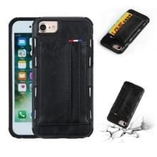 Voor iPhone 8 & 7 PU + TPU schokbestendig beschermende lederen draagtas met kaartsleuven (zwart)