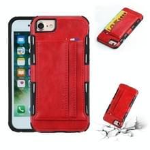 Voor iPhone 8 & 7 PU + TPU schokbestendig beschermende lederen draagtas met kaartsleuven (rood)