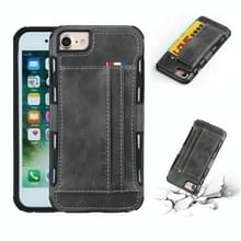 Voor iPhone 8 & 7 PU + TPU schokbestendig beschermende lederen draagtas met kaartsleuven (grijs)