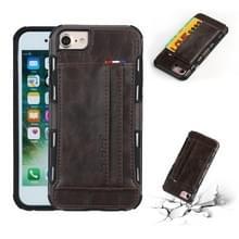 Voor iPhone 8 & 7 PU + TPU schokbestendig beschermende lederen draagtas met kaartsleuven (koffie)