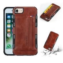 Voor iPhone 8 & 7 PU + TPU schokbestendig beschermende lederen draagtas met kaartsleuven (bruin)