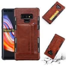 Voor Galaxy Note 9 PU + TPU schokbestendig beschermende lederen draagtas met kaartsleuven (bruin)