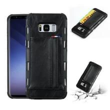 Voor Galaxy S8 PU + TPU schokbestendig beschermende lederen draagtas met kaartsleuven (zwart)