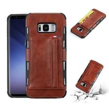 Voor Galaxy S8 PU + TPU schokbestendig beschermende lederen draagtas met kaartsleuven (bruin)