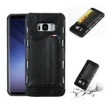 Voor Galaxy S8 PLUS PU + TPU schokbestendig beschermende lederen draagtas met kaartsleuven (zwart)