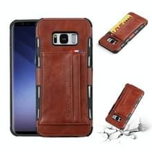 Voor Galaxy S8 PLUS PU + TPU schokbestendig beschermende lederen draagtas met kaartsleuven (bruin)