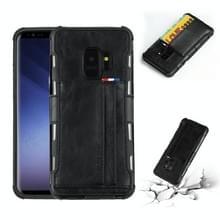 Voor Galaxy S9 PU + TPU schokbestendig beschermende lederen draagtas met kaartsleuven (zwart)