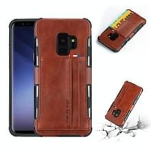 Voor Galaxy S9 PU + TPU schokbestendig beschermende lederen draagtas met kaartsleuven (bruin)