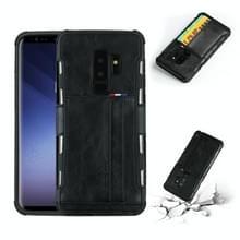Voor Galaxy S9 PLUS PU + TPU schokbestendig beschermende lederen draagtas met kaartsleuven (zwart)