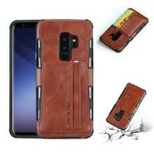 Voor Galaxy S9 PLUS PU + TPU schokbestendig beschermende lederen draagtas met kaartsleuven (bruin)