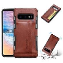 Voor Galaxy S10 PU + TPU schokbestendig beschermende lederen draagtas met kaartsleuven (bruin)