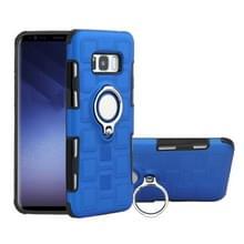 Voor Galaxy S8 2 in 1 Cube PC + TPU beschermhoes met 360 graden draaien zilveren ring houder (blauw)