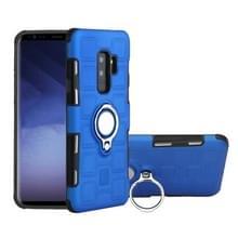 Voor Galaxy S9 PLUS 2 in 1 Cube PC + TPU beschermhoes met 360 graden draaien zilveren ring houder (blauw)