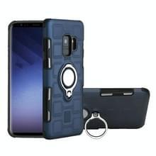Voor Galaxy S9 2 in 1 Cube PC + TPU beschermhoes met 360 graden draaien zilveren ring houder (marineblauw)
